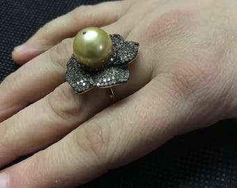 BEAUTIFUL South Sea Pearl Ring,Pearl Ring With Diamonds,Golden Pearl Ring,Pave Diamond Ring,Victorian Ring,