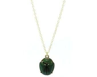 Antique Scarab Beetle Pendant | Victorian Egyptian Scarab Beetle | Egyptian Revival | Antique Charm Necklace | Tutankhamun Beetle
