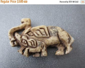 ON SALE 15% OFF Camel Bones Carved Elephants Beads 1pc
