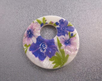 Flower Print Mother of Pearl Pendant 1pc