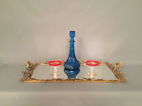 French antique mirror tray with brass leaf detail frame