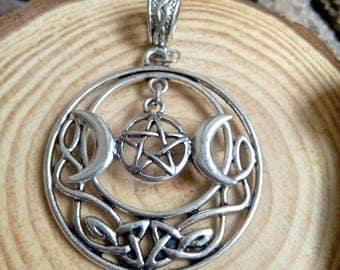PENDANT Celtic wicca triple Moon