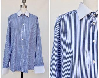 basic blue and white pinstripe preppy button unisex shirt