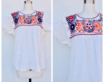 embroidered mexican cotton white top