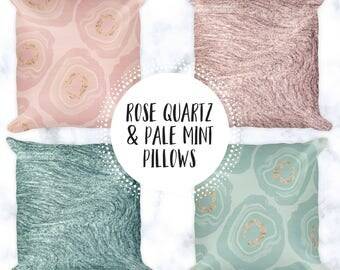 Rose Quartz & Pale Mint Throw Pillows | Square Pillow Cases | Boho Bed Pillows | 18x18 Accent Pillows | Geode | Marble | Rose Gold Accents