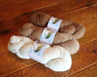 Alpaca Yarn, Natural, Worsted, 3 ply