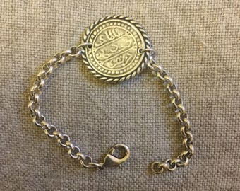 Zamak bracelet, silver plated Ancient coin
