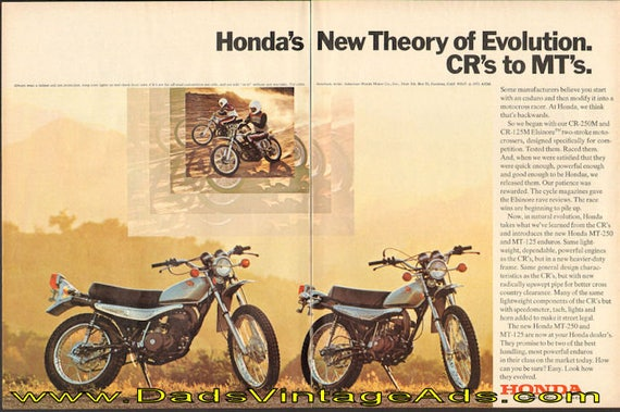1973 Honda's new theory of evolution - CR's to MT's 2-Page Ad #de73ha09