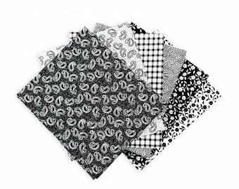Black Fat Quarters, Fat Quarter Bundle, Craft Bundle, Fat Quarters Fabric Bundle, Fat Quarter Quilt Fabric, 100% Cotton Fabric, Paisley