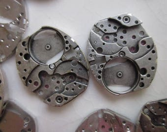 16 Vintage Elgin Watch Parts, Rhodium Plate, 18mm x 16mm Cropped-End Ovals
