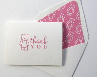 Children's Thank You Cards - Pink Bear Thank You Card - Pink Bear Stationery