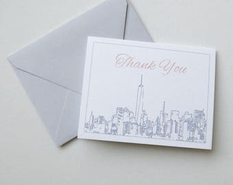 New York City Skyline Thank You Notes - NYC Skyline Thank You Cards - NYC Invitation Suite Thank You Notes - Grey and Blush 2