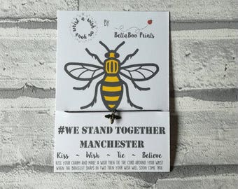 Bee Wish Bracelet ~ Bee Charm Bracelet ~ Manchester Bee ~ This is Manchester ~ We Stand Together ~ Manchester Attack ~ Charity Bracelet