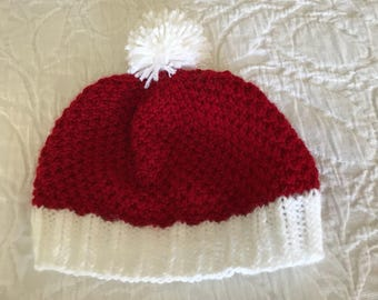 Red and White Pom Pom Hat