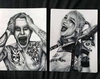 Joker & Harley Quinn Drawing Print Duo