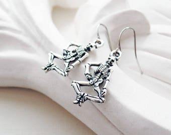 Silver Skeleton Earrings | Halloween Earrings