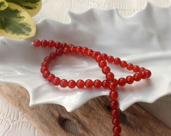 Set of 4 beautiful round 6 mm CARNELIAN natural stone beads