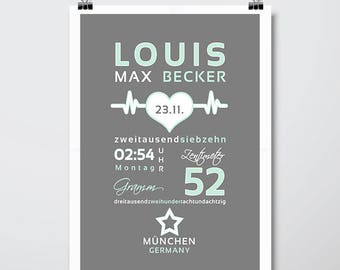 DIN A3 birthdates personalised art print 'LOUIS' mint, art print, print