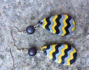 geometric yellow polymer earrings