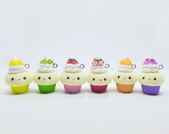 Cutie Fruit Cupcake Polymer Clay Charm/ Stitch Marker / Progress keeper / Planner Charm