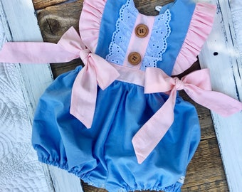 Girls lace vintage romper, pink ruffled romper, haven romper, girls bubble romper, toddler romper