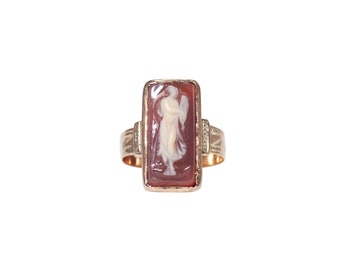 Antique 14k Yellow Gold Cameo Ring, Cameo Ring, Antique Ring, Victorian, Vintage Jewelry