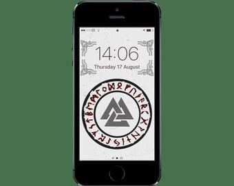 Valknut/Rune Protection Viking iPhone Wallpaper // iPhone // Rune Protection // Phone Wallpaper // Screensaver //