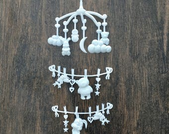 Resin Baby Mobile Embellishments,Baby Mobile Garland Embellishments,Flat back,Shabby Chic,Baby Embellishments,Card Making,Scrapbooking Lot#5