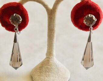 1950's Japan Sterling Smokey Quartz Dangle Earrings