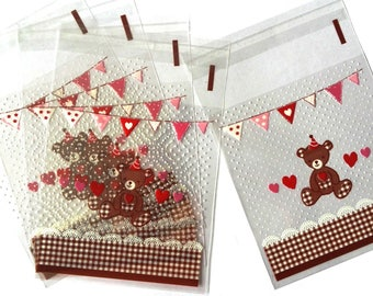 Set of 10 bags bear, Garland and hearts