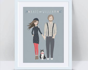 Custom Couple Portrait, Custom Couple Illustration, Couple Portrait, 1st Anniversary Gift for Husband Wife, Anniversary Gifts for Boyfriend