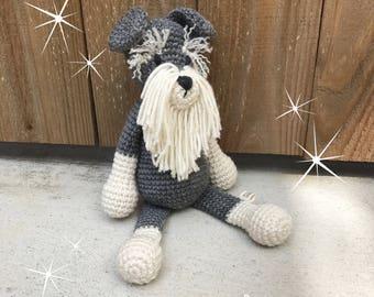 Scotch the Schnauzer - Handmade crochet stuffed animals