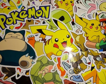 12 Large Pokemon Stickers Random set of 12 For Party Favors - Loot Bags - Birthday Party - Gift -