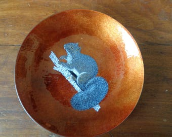 Burnt Orange Copper Enamel Dish with Squirrel Design, Vintage, Country Decor, Cabin decor