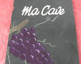 deco slate 'my cellar' bunch of grapes