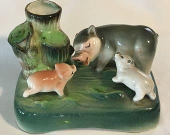 Vintage Ceramic Figural Pig with Piglets Bud Vase Made in Japan