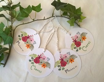 Bohemian flowered round thank you cards or 4 tags