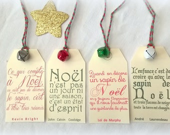 4 Christmas tags quotes and bells