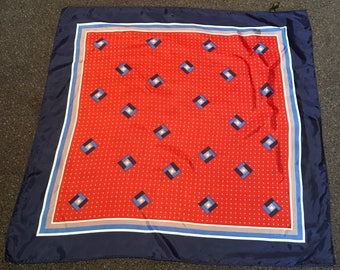 Vintage 1970s Red White and Blue Japanese Acetate Scarf