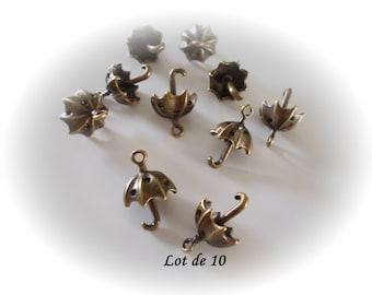 Set of 10 bronze umbrellas, bronze umbrella charms