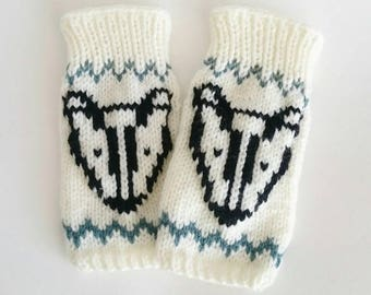 Fingerless Badger Gloves - Mittens, Wrist Warmers, For Her, Winter Accessories, Woodland gloves, Hand Knitted
