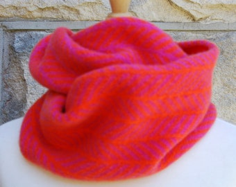 Pink and Orange Running Trees cowl in superfine merino blend