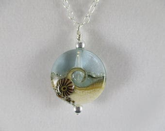 aqua ocean wave necklace, blue sea glass necklace, ocean necklace, beach necklace, lampwork bead necklace,  beach wedding bridesmaid gift