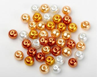 8 mm Glass Pearl Mix, Caramel Mix (2078)