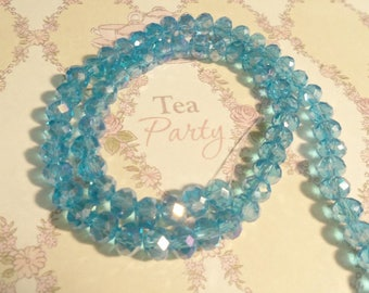 M* - Strand of 6 mm x 8 mm Faceted Glass Rondelle Beads, AB Finish, Blues and Purples  (2092)