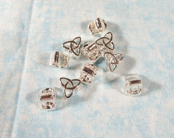 10 Silver Tone Triquetra/Celtic Knot Euro Style Charm Beads (B491x)