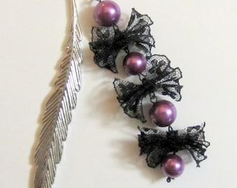 Bookmark stem pluck in silvery metal, purple beads and lace black