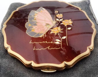 Stratton powder compact, Butterfly with gold tone features. Signed by artist, Queen compact.