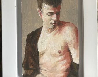 "The boy in the brown coat - a small original study in oil (3x5"") sold framed"