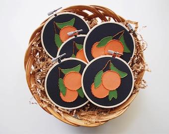 Mini Oranges Embroidery Hoop